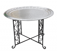 Moroccan  Vintage Aluminium Tray Or Table with Wrought Iron Legs Diameter 76 cm. 30'' (ALT11)